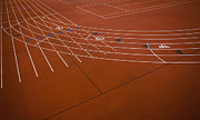 Athletic Framed Prints - A Red Running Track Athletics Ground Framed Print by Christian Scully