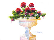 Geranium Paintings - A Regal Urn by Pat Yager