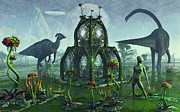 Full-length Digital Art Framed Prints - A Reptoid Alien Colonist At Work Framed Print by Mark Stevenson