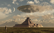 Flying Saucer Digital Art - A Reptoid Greets An Incoming Flying by Mark Stevenson