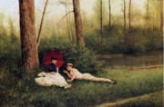 Flirting Paintings - A Rest After Boating by Georges Croegaert