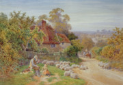 Dog Walking Painting Framed Prints - A Rest by the Way Framed Print by Charles James Adams