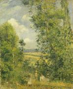 Wooded Prints - A Rest in the Meadow Print by Camille Pissarro