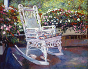 Rocking Chairs Metal Prints - A Rest in the Shade Metal Print by David Lloyd Glover