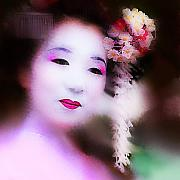 Geisha Digital Art Framed Prints - A reworking of Teddys image Framed Print by Jeff Burgess