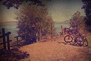 Bicycles Digital Art - A Ride Down to the Lake by Laurie Search