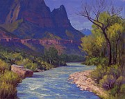 Zion Paintings - A river flows through it by Cody DeLong