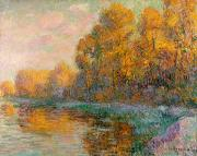 Yellow Leaves Painting Prints - A River in Autumn Print by Gustave Loiseau