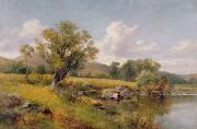 Fishing Painting Posters - A River Landscape Poster by David Bates