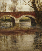 Reflection Paintings - A River Landscape with a Bridge  by Fritz Thaulow