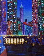 Chicago At Night Paintings - A River Runs Through It 2 by J Loren Reedy