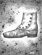 Steampunk Drawings - A Riveting Shoe by Adam Zebediah Joseph