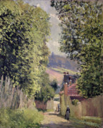 Country Cottage Framed Prints - A Road in Louveciennes Framed Print by Alfred Sisley