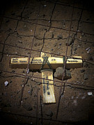 Commemorating Posters - A Road Repair Crew Places A Cross Poster by Stocktrek Images
