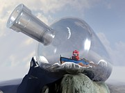 Sci-fi Digital Art Prints - A Robot in a Bottle Print by Michael Knight