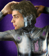 Bodypaint Framed Prints - A robot trying on Humanity Framed Print by Dean Montalbano