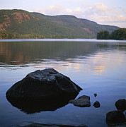 Maine Scenes Prints - A Rock Is In The Foreground Of A Lake Print by Stephen Alvarez