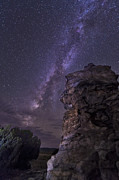 Hoodoo Prints - A Rocky Hoodoo Against The Milky Way Print by John Davis
