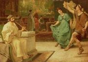 Alma-tadema; Sir Lawrence (1836-1912) Framed Prints - A Roman Dance Framed Print by Sir Lawrence Alma-Tadema
