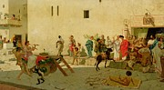 Crowds Paintings - A Roman Street Scene with Musicians and a Performing Monkey by Modesto Faustini