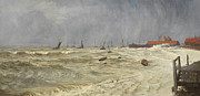 Stormy Weather Paintings - A Rough Day at Leigh by William Pye