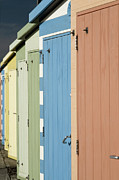 Beach Hut Posters - A Row Of Beach Huts Poster by Matthew Piper