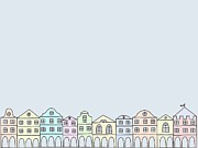 Residential Structure Digital Art Prints - A Row Of Buildings Print by Lana Sundman