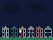 Building Exterior Digital Art - A Row Of Homes In The Night by Paul Guzzo