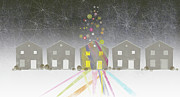 Spectrum Prints - A Row Of Houses Print by Jutta Kuss