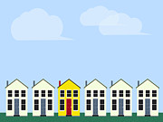Building Exterior Digital Art - A Row Of Houses by Paul Guzzo