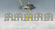 Weather Digital Art Prints - A Row Of Houses With A Storm Cloud Over One House Print by Jutta Kuss
