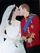 Kate Middleton Painting Originals - A Royal Kiss by Samantha Dreifuss