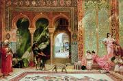 Cat Woman Framed Prints - A Royal Palace in Morocco Framed Print by Benjamin Jean Joseph Constant