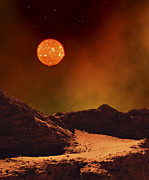 Destruction Digital Art - A Rugged Planet Landscape Dimly Lit by Frank Hettick