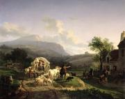 Rural Life Painting Framed Prints - A Rural Landscape Framed Print by Auguste-Xavier Leprince
