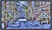 Blizzard Scenes Prints - A Rural Road in a Magical and Haunted Forestscape after a Snowfall in Canada Print by Chantal PhotoPix