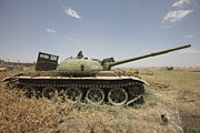 Russian Civil War Prints - A Russian T-62 Main Battle Tank Rests Print by Terry Moore