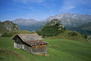 Engadin Valley Posters - A Rustic Mountain Hut High In The Swiss Poster by Taylor S. Kennedy
