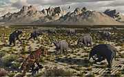Elephant Grass Framed Prints - A Sabre-toothed Tiger Stalks A Herd Framed Print by Mark Stevenson
