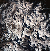 Square Art - A Satellite View Of A Mountain Range by Stockbyte