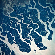 Square Tapestries Textiles - A Satellite View Of Rivers And Tributaries by Stockbyte