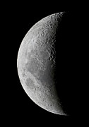 Moon Detail Posters - A Saxing Crescent Moon In High Poster by Luis Argerich
