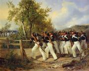 Crossing Painting Framed Prints - A Scene from the soldiers life Framed Print by Carl Schulz