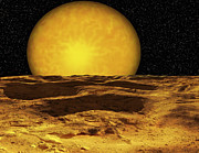 Lowlands Prints - A Scene On A Moon Of Upsilon Andromeda Print by Ron Miller