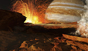 Astrogeology Prints - A Scene On Jupiters Moon, Io, The Most Print by Ron Miller