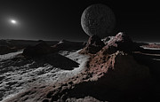 Kuiper Belt Objects Acrylic Prints - A Scene On Pluto With Charon, Its Giant Acrylic Print by Ron Miller