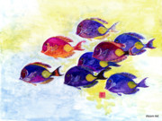 Gyotaku Framed Prints - A School of Fish Framed Print by Brenda Alcorn