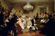 People Painting Framed Prints - A Schubert Evening in a Vienna Salon Framed Print by Julius Schmid