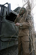 Ghillie Suits Prints - A Scout Observer Applies Camouflage Print by Stocktrek Images