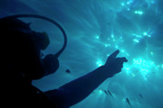 Sami Sarkis Metal Prints - A scuba diver pointing the sunbeams penetrating the water Metal Print by Sami Sarkis
